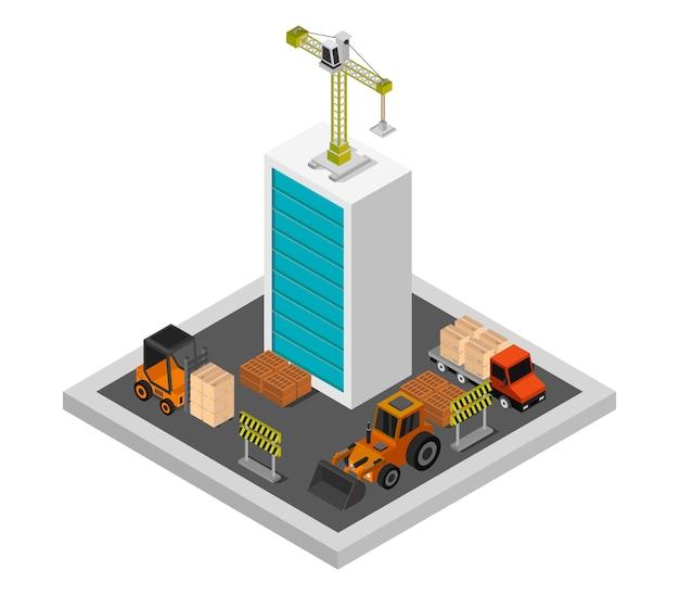 Costruzione edificio isometrico