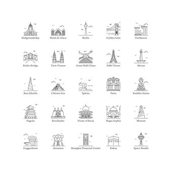 Costruzione famosa iconica del punto di riferimento nell'illustrazione stabilita di vettore dell'icona del mondo isolata