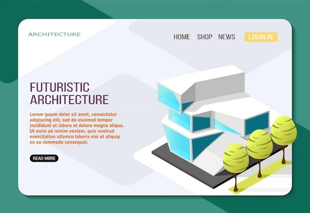 Costruzione futuristica di architettura dalla pagina web isometrica di atterraggio di vetro e calcestruzzo su luce