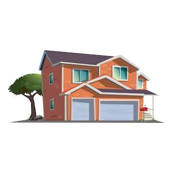 Costruzione, illustrazione moderna del cottage nella vista di prospettiva con l'albero verde, palo di posta rosso nello stile del fumetto.
