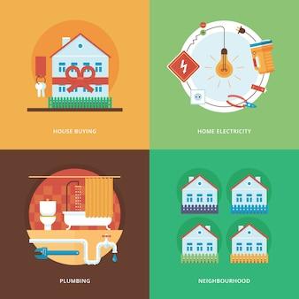 Costruzione, industria della costruzione e sviluppo di set per applicazioni web e mobili. illustrazione per l'acquisto di una casa, l'elettricità domestica, l'impianto idraulico e il vicinato.