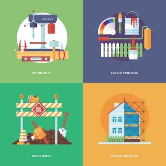 Costruzione, industria della costruzione e sviluppo di set per applicazioni web e mobili. illustrazione per officina di metallo, pittura a colori, lavori stradali e costruzione di case.