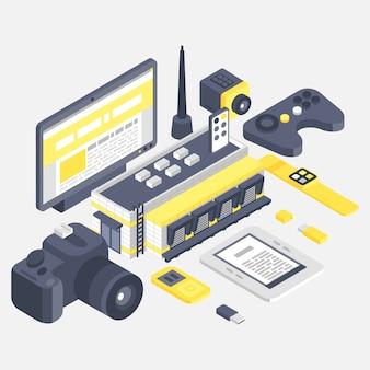Costruzione isometrica con l'illustrazione differente dell'insegna di tecnologie.