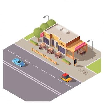 Costruzione isometrica del caffè 3d con il terrazzo all'aperto