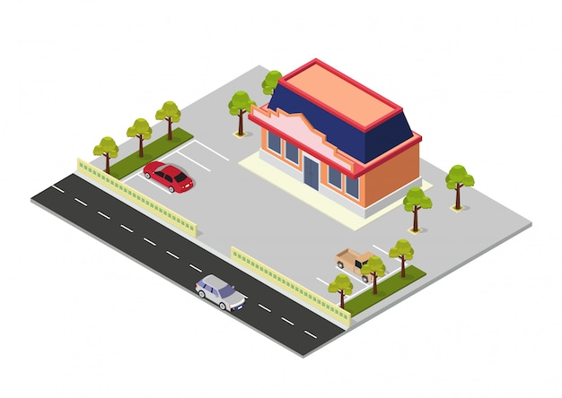 Costruzione isometrica del centro commerciale di vettore