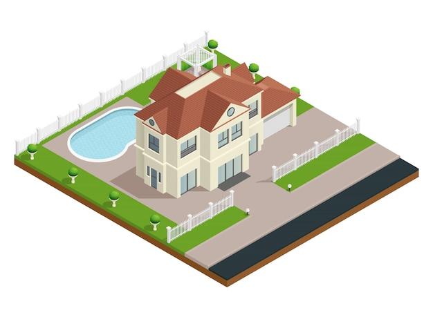 Costruzione isometrica della costruzione di casa del sobborgo con la piscina ed il recinto