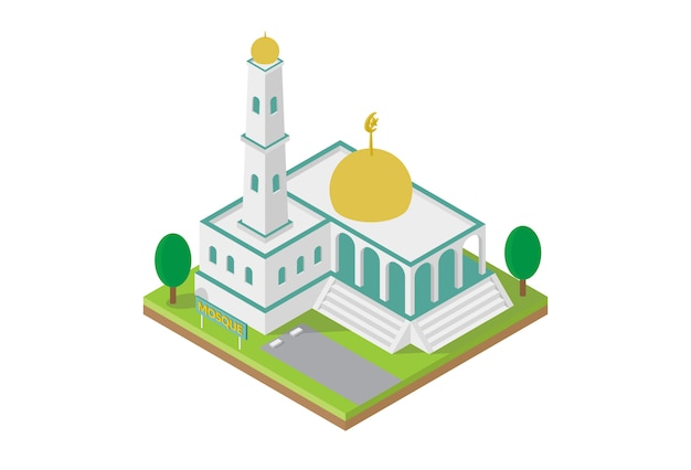 Costruzione isometrica della moschea per il vettore della mappa