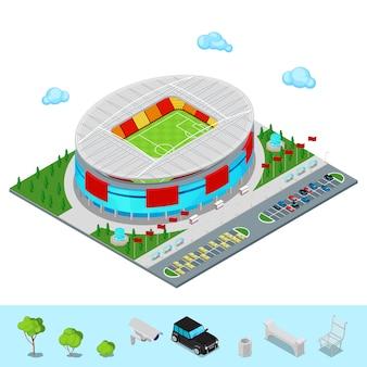 Costruzione isometrica dello stadio di calcio di calcio con il parco e l'area di parcheggio per le automobili.