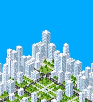 Costruzione isometrica di architettura urbana di vettore della città moderna