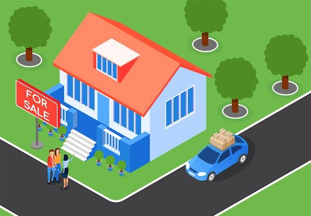 Costruzione isometrica di vettore di real estate urban house