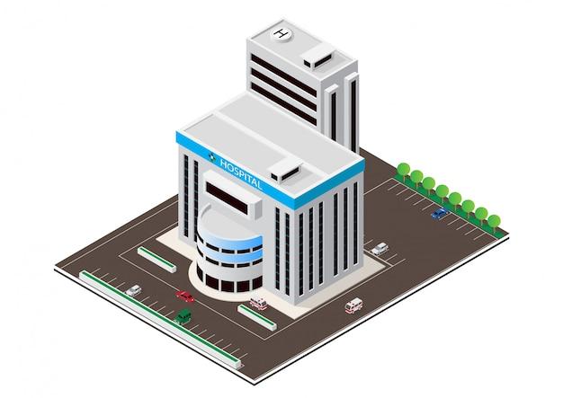 Costruzione isometrica moderna dell'ospedale di vettore