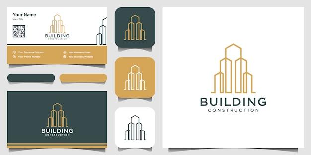 Costruzione logo design in linea art. logo design e set di biglietti da visita
