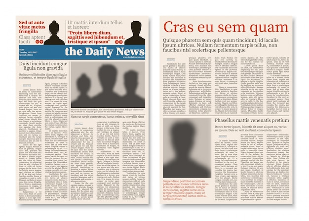 Costruzione modulare del giornale del giornale con il modello di vettore di informazioni pubblicitarie