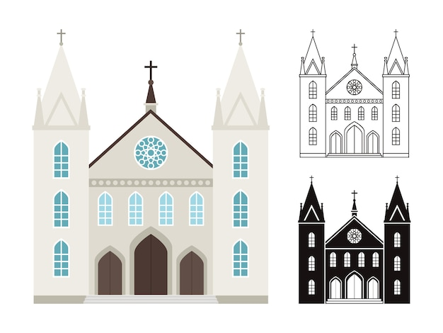 Costruzioni di chiesa isolate su bianco