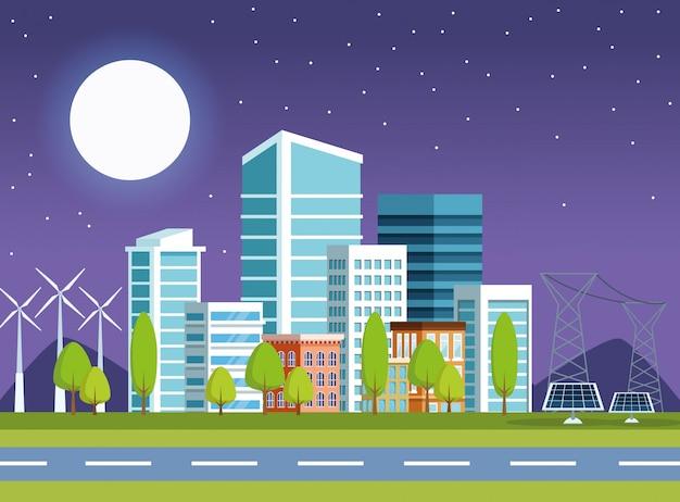 Costruzioni e pannelli solari alla scena di paesaggio urbano di notte