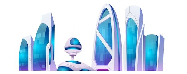 Costruzioni future della città, grattacieli futuristici isolati su fondo bianco.