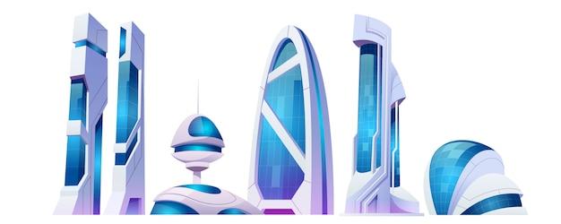 Costruzioni futuristiche della città futura con la facciata di vetro