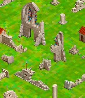 Costruzioni medievali su erba verde, modello senza cuciture isometrico