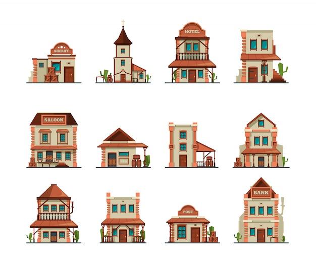 Costruzioni occidentali. old wild west town store bar cowboy bar edificio in stile cartone animato