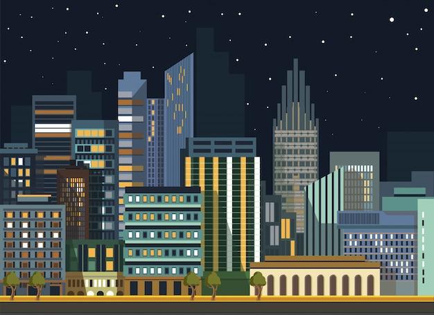 Costruzioni piane di panorama di notte di vettore del paesaggio urbano moderno della città