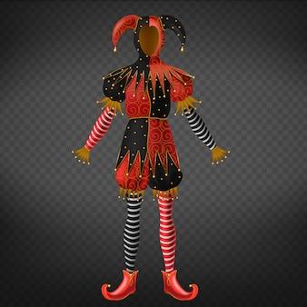 Costume da giullare o giullare isolato su sfondo trasparente.