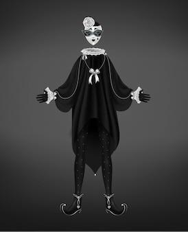 Costume di pierrot, personaggio comico del arte italiana isolato su sfondo nero.