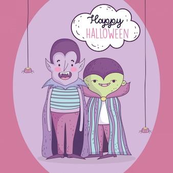 Costume e ragni felici del mostro di dracula del ragazzo di celebrazione di halloween