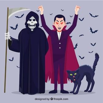 Costumi di halloween con il gatto spaventato
