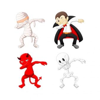 Costumi di halloween del fumetto di tamponatura