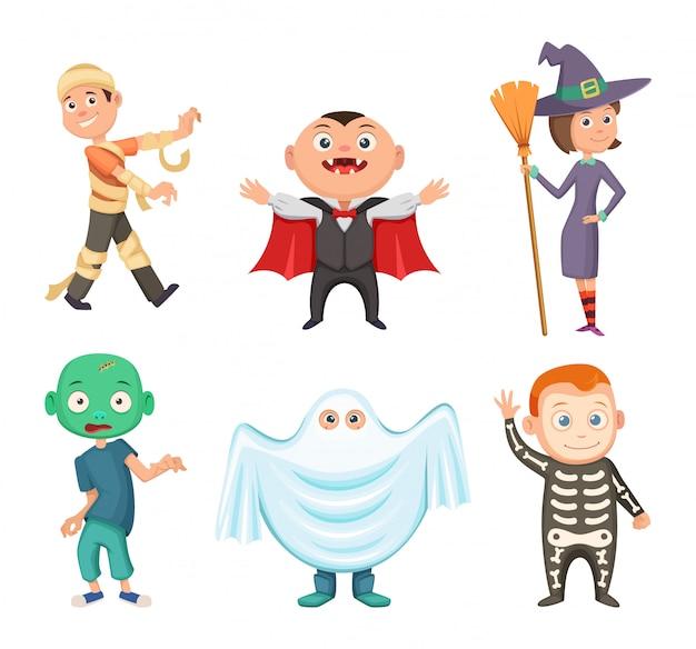 Costumi di halloween per bambini. zombie, vampiro, strega e fantasma divertente. insieme del costume per la festa di halloween, illustrazione vettoriale