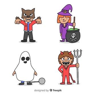 Costumi disegnati a mano del bambino di halloween del carattere
