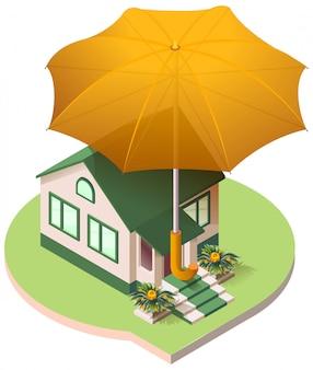 Cottage casa privata sotto un ombrello assicurazione immobiliare