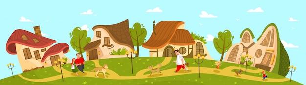 Cottage del villaggio di fantasia, stile di vita idilliaco della campagna, illustrazione
