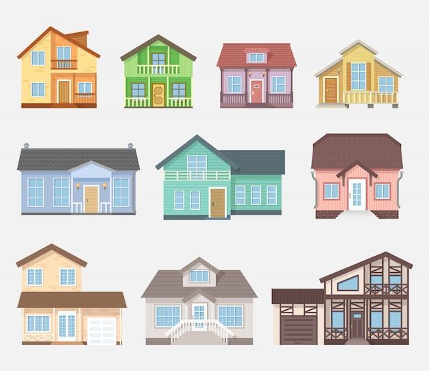 Cottage o case di campagna dettagliate. facciata della casa con finestre, porte e terrazza