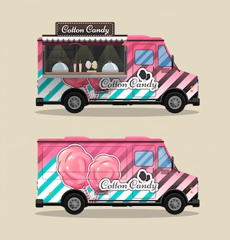 Cotton candy, un chiosco su ruote, vendita al dettaglio, caramelle e pasticceria