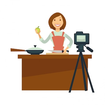 Cottura di vettore del tiro della donna di blogger o del vlogger