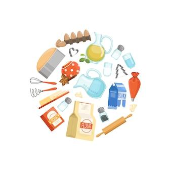 Cottura ingridients o concetto di cerchio di generi alimentari. distintivo rotondo cibo di colore