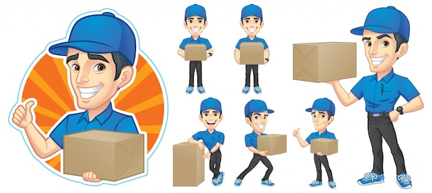 Courier young man character collection