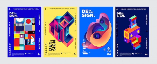 Cover e poster design template per magazine