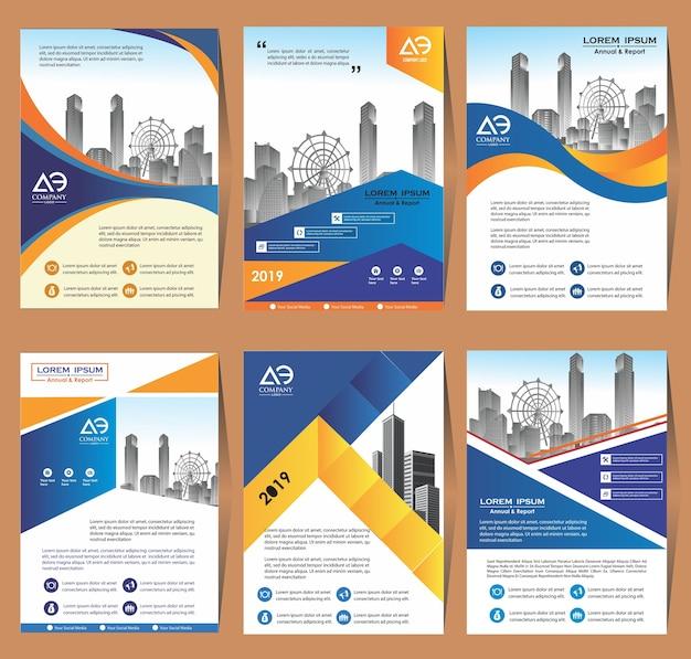 Cover set template a4 size progettazione brochure aziendale