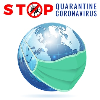 Covid-19 coronavirus con segnale di stop terra in quarantena con maschera medica da wuhan romanzo epidemia di coronavirus covid-19 in cina 2019-ceppo virus ncov isolato