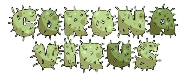 Covid-19 coronavirus illustrazioni colorate tipografia