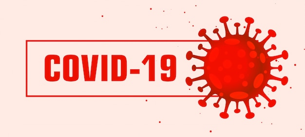 Covid-19 coronavirus pandemic red banner design virus
