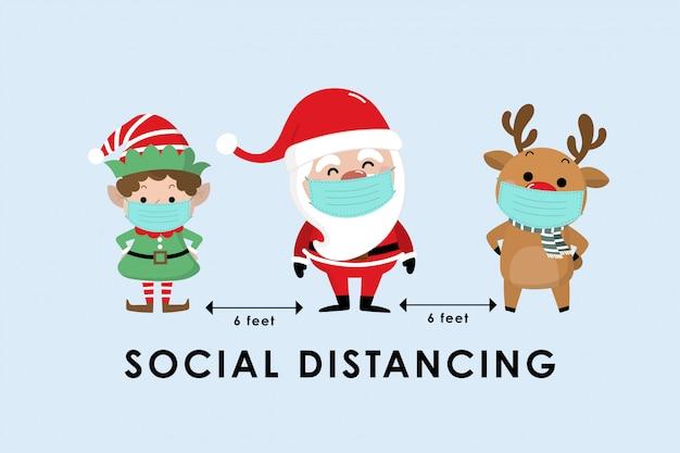 Covid-19 e infografica sociale di distanza con simpatico cartone animato di natale