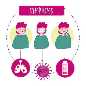 Covid 19 infografica coronavirus, personaggio con maschera medica per la tosse e illustrazione di sintomi del naso in esecuzione