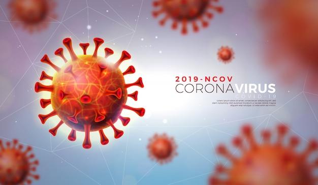 Covid-19. progettazione dell'epidemia di coronavirus con cellula virale in vista microscopica su sfondo chiaro lucido. 2019-ncov modello di illustrazione sul tema dell'epidemia di sars pericolosa per banner promozionale.