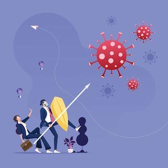 Covid-19 protezione del coronavirus e prevenzione della quarantena o del rischio aziendale dal nuovo concetto di epidemia di virus