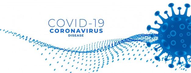 Covid19 nuovo banner di coronavirus con cellula virale