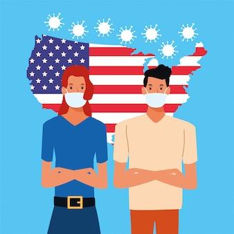 Covid19 particelle di pandemia con bandiera usa e coppia usando la maschera facciale