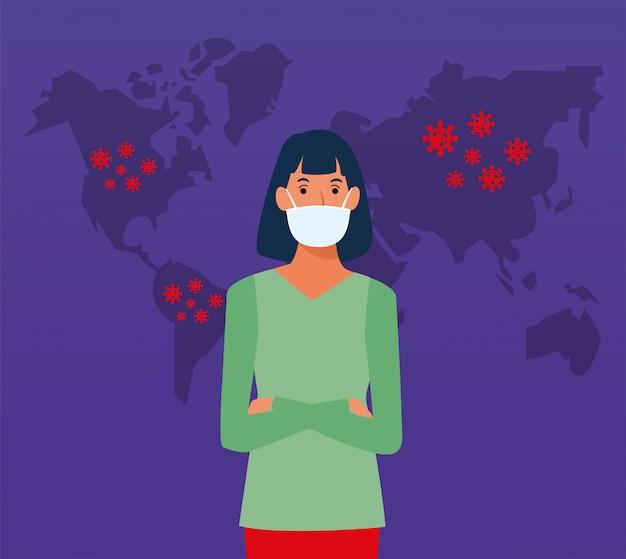 Covid19 particelle di pandemia con mappe della terra e donna che usa la maschera facciale